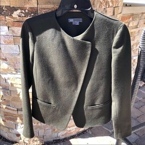Vince High Double Closure Wool Jacket Olive sz 2